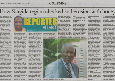 From the Daily News – How Singida Region Checked Soil Erosion with Honey